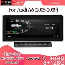 Automóvel estereofônico da navegação de gps do jogador de rádio de dvd dos multimédios do carro de android 10 para o sistema de audi a6 (2005-2009) 2g