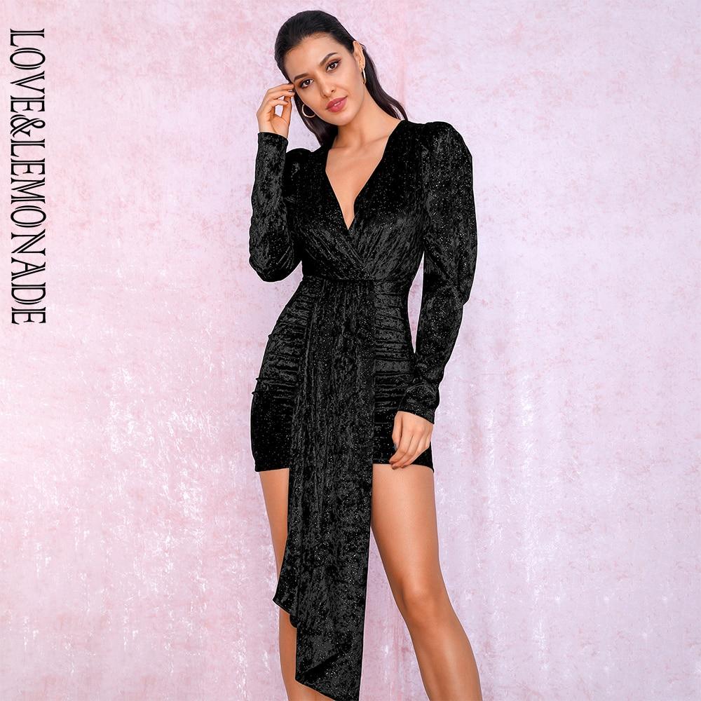 LOVE&LEMONADE Sexy Black Deep V-neck  Ribbon Flash Velvet Material Bubble Long Sleeve Party Mini Dress  LM81992