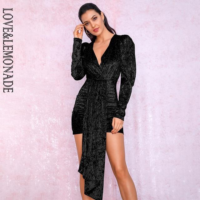 אהבה & לימונדה סקסי שחור עמוק V צוואר סרט פלאש קטיפה חומר בועה ארוך שרוול המפלגה מיני שמלת LM81992