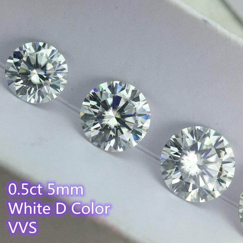 Round Brilliant Cut 5mm 0.5ct Carat D Color Moissanites Loose Stone VVS Diamond Ring Jewelry Pendant Earrings Material