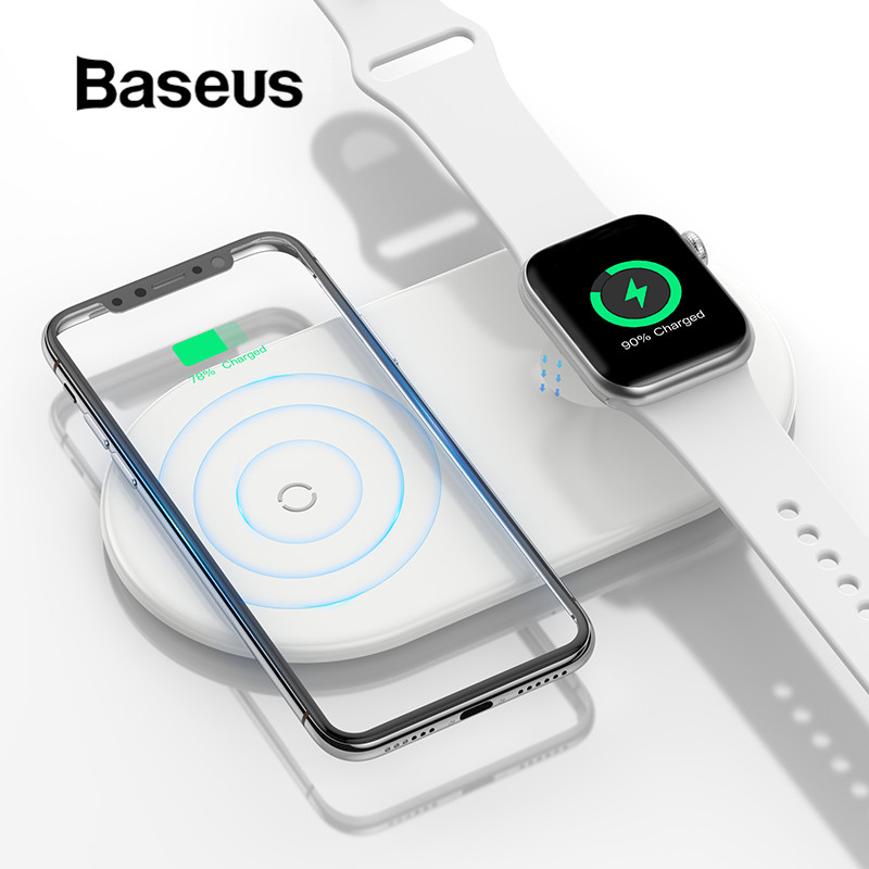 Baseus 2 in 1 Wireless Charger For iPhone X XS Max XR 8 Apple Watch 4 3 2 Fast Wireless Charging Pad(Update Support iP Watch 4)