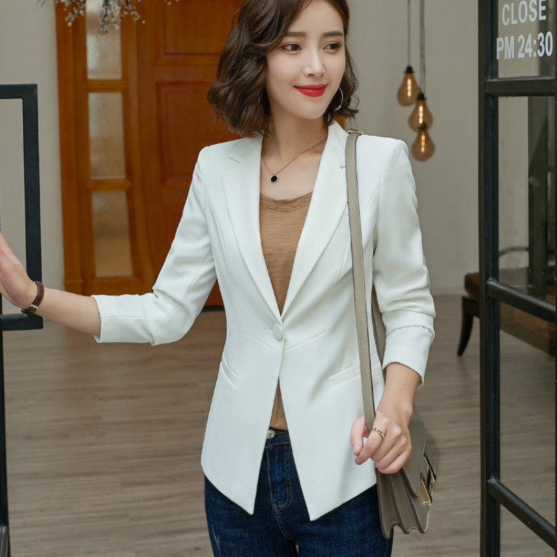Temperament Long Sleeve Women's Jacket High Quality 2019 New Solid Color Slim Large Size Ladies White Blazer Fashion Office Suit