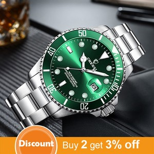 Image 2 - Luxury Green Men Watches Classic Silver Stainless Steel 30M Waterproof Casual Business Mens Sport Wrist Watch  Japan Movement