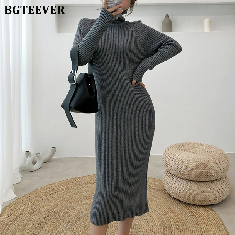 Thicken Turtleneck Long Knitted Sweater Dress Women Pullover Dress Vintage Autumn Winter Long Sleeve Female Sweater Dresses