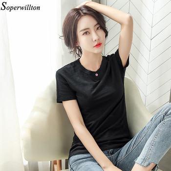 100% Cotton T Shirt Women Long Sleeve Tshirt Female 2020 Spring Autumn Ladies Tops Tee Shirt Femme Plus Size 3XL White Black G79 - short sleeve black, XXXL