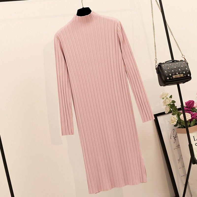 Robe longue pour femmes, robe épaisse, chaude, côtelée, pull, ample, décontractée, Vintage