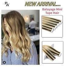 Mw ombre cor 100% real balayage do cabelo humano mini fita em extensões de cabelo máquina remy cabelo adesivo trama da pele 12
