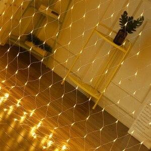 Image 5 - 1.5x1.5m 96leds 8 trybów ue wtyczka 220V netto LED girlanda żarówkowa festiwal świąteczne dekoracje nowy rok ceremonia ślubna wodoodporna
