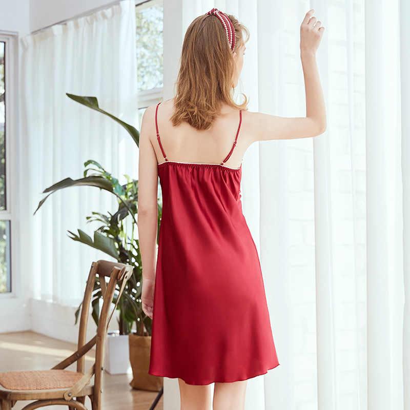 Yao ting yeni stil ipek pijama kadın yaz dantel-up seksi kayma gecelik eşofman Dq1339