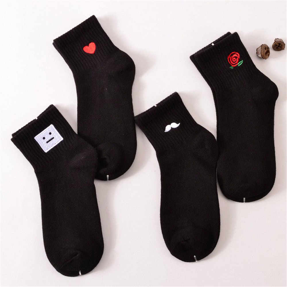 Женские хлопковые короткие носки, носки с усами Амура, молочная кола, клевер, любовь, улыбка, лицо Матильда, розовый язык, Прямая поставка