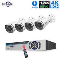 Hiseeu 4K 8CH POE System kamer bezpieczeństwa NVR 8MP zewnętrzna wodoodporna kamera POE IP H.265 wideo CCTV zestaw do nadzorowania