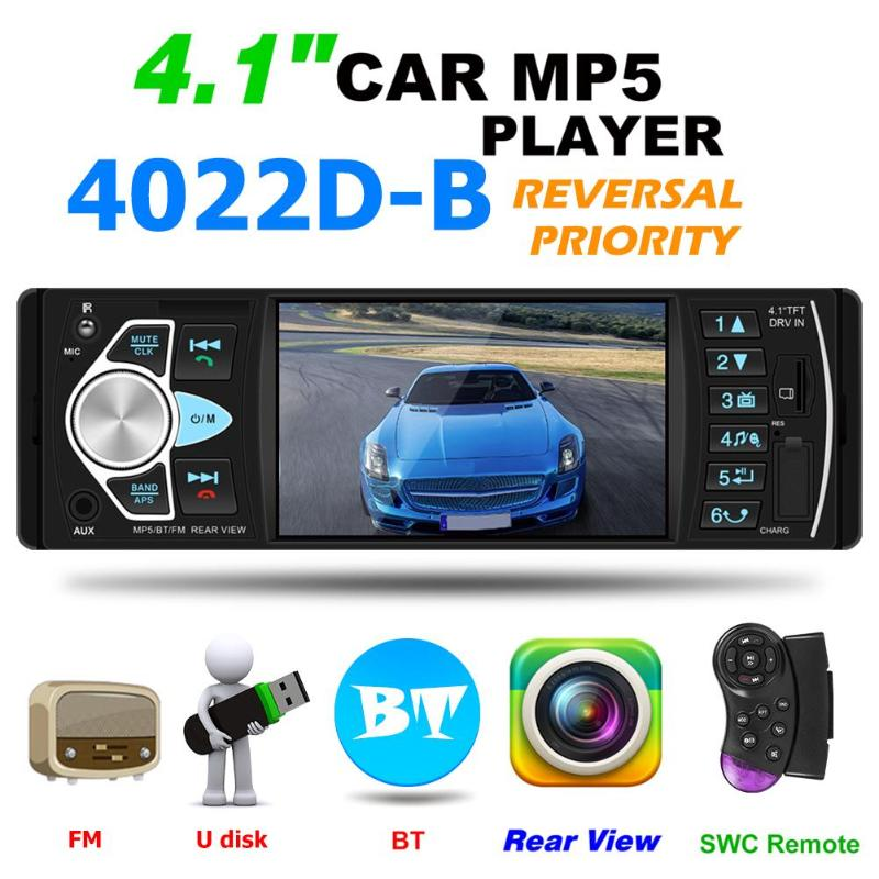VODOOL 4022D 1 din Car Multimedia Player 4.1 Bluetooth Stereo Video MP5 Player Autoradio FM Radio USB AUX TF Card Backup Camera image