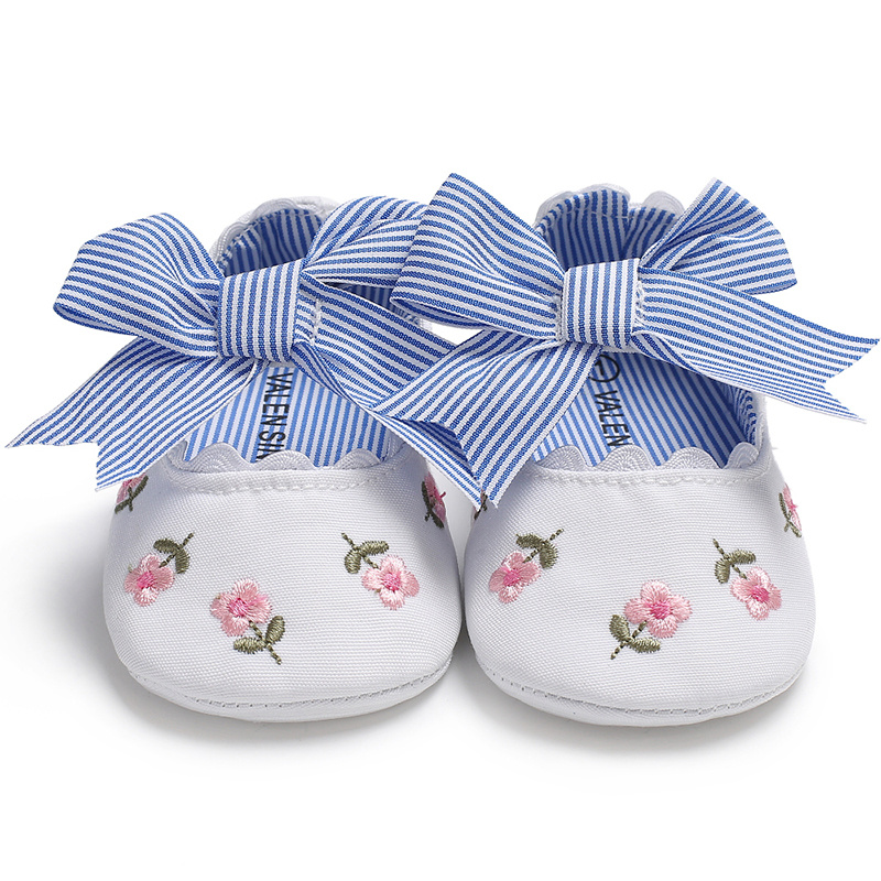 Baby Girl Shoes Newborn Flower Print Stripe Bowknot Soft Anti-Slip Sole Toddler Princess Cute Crib Shoes Moccasins Baby