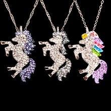 Moda púrpura de cristal blanco unicornio colgante de Metal collar de cadena de las mujeres chica regalo de la joyería