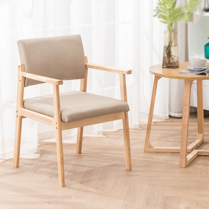 Nordic Ins Solid Wood Dining Chair Armrest Modern Home Furniture Minimalist Back Casual Coffee Study Bedroom Dining Wood Chairs