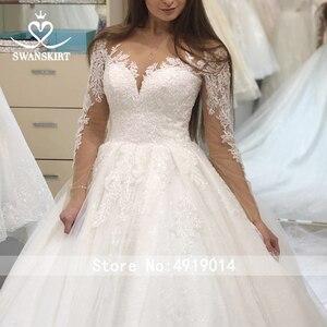 Image 5 - Swanskirt Appliques Hochzeit Kleid 2020 Langarm Spitze up Ballkleid Kapelle Zug Prinzessin Braut Kleid F117 Vestido de Noiva