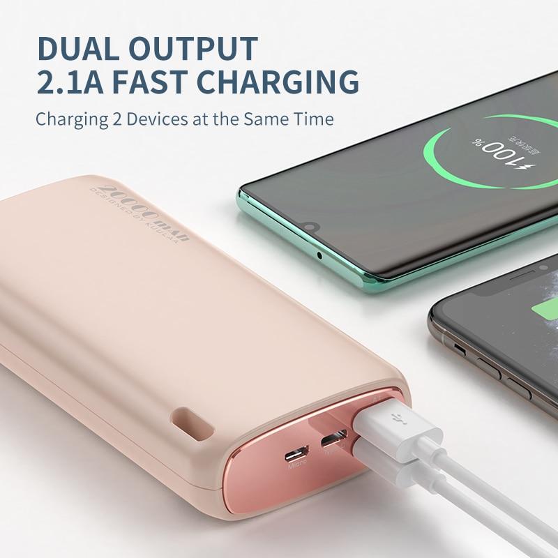 KUULAA Power Bank 20000mAh Portable Charging Poverbank Mobile Phone External Battery Charger Powerbank 20000 mAh for Xiaomi Mi 4