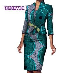 2 stück Set Frauen Afrikanische Mantel und Kleid Elegante Afrikanische Druck Bazin Riche Büro Weibliche 3/4 Hülse Afrikanische Kleidung WY5994