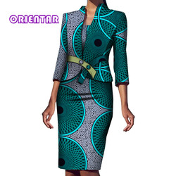 2 stuks Set Vrouwen Afrikaanse Jas en Jurk Elegante Afrikaanse Print Bazin Riche Kantoor Vrouwelijke 3/4 Mouwen Afrikaanse Kleding WY5994