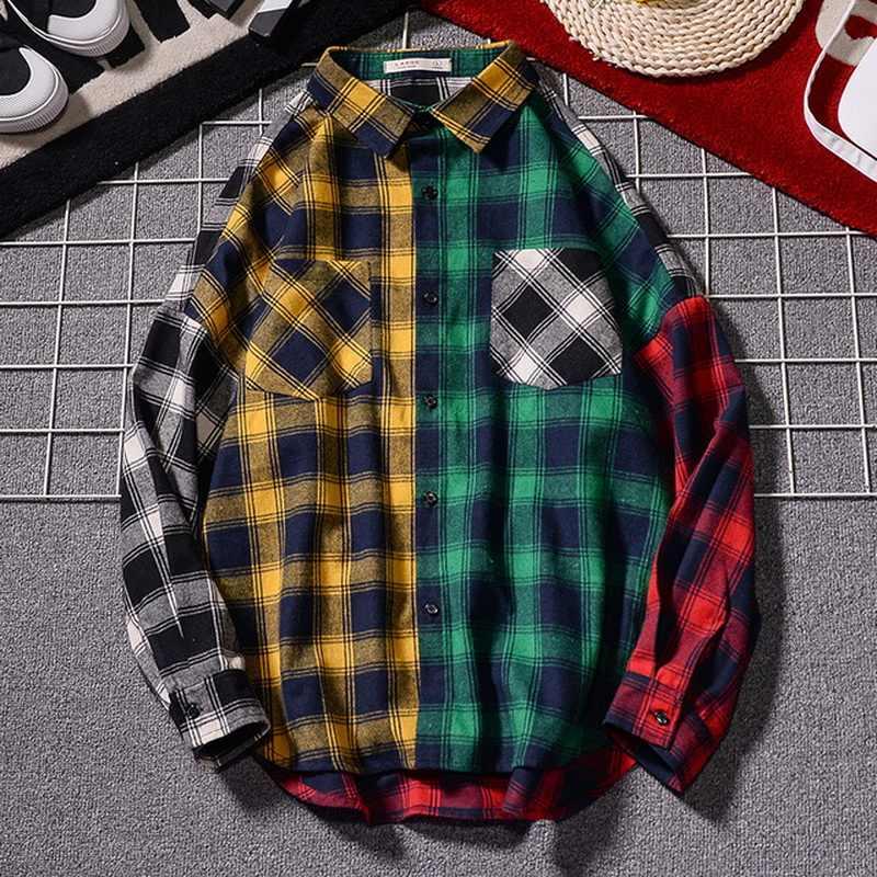 힙합 Streetwear 패치 워크 펑크 캐주얼 격자 무늬 셔츠 남성 긴 소매 고품질 2020 느슨한 봄 가을
