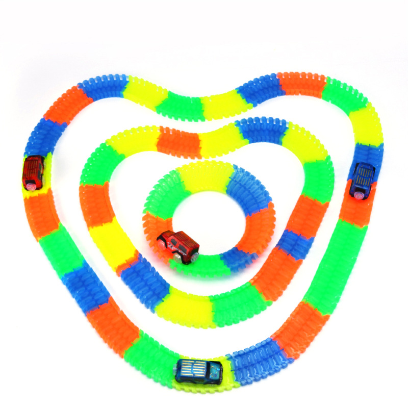 Boxed Railway Magical Glowing Flexible Track Car Toys Child Racing Bend Rail Track LED Electronic Flash Light Car DIY Kids Toy