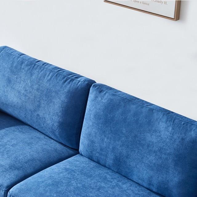 "[2021]Modern fabric sofa L shape, 3 seater with ottoman-104"" Blue 5"