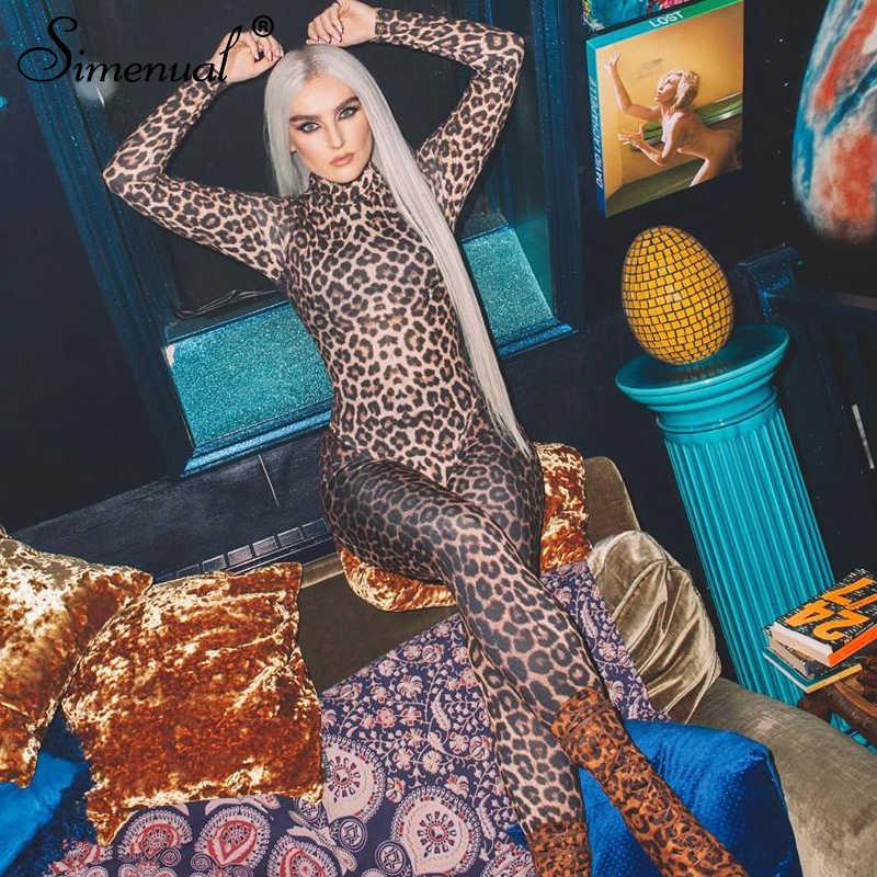 Monos de gimnasia sexis de leopardo simenuales para mujer mono con cremallera moda 2019 otoño manga larga para fiesta ropa de fiesta monos ajustados