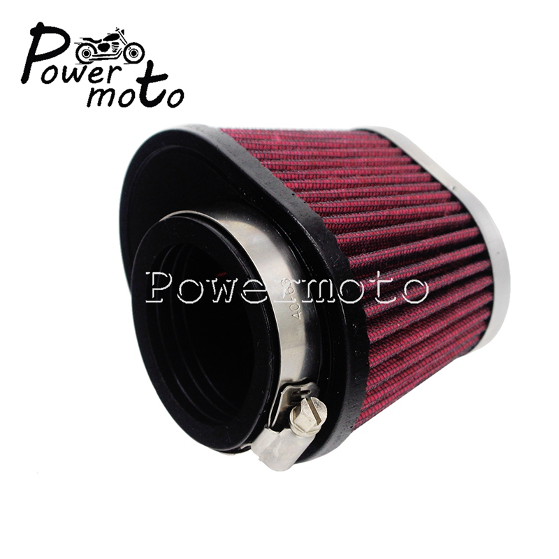 2X 48MM Motorcycle Air Pod Filter For Honda Kawasaki Suzuki Yamaha Universal Red
