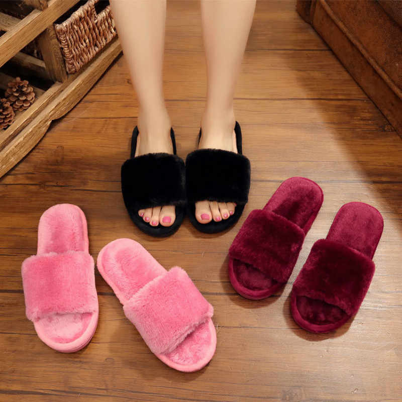 Dropshipping Winter Women House Plush Slippers Fur Slides Fluffy Faux Not-slip Flat Sandals Female Casual Shoes Zapatos Mujer