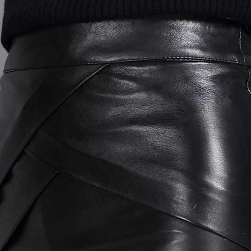 ハイウエストラップスカートエレガントなオフィスレディジッパー A ラインミニスカート秋冬本革固体黒スカートプラスサイズ