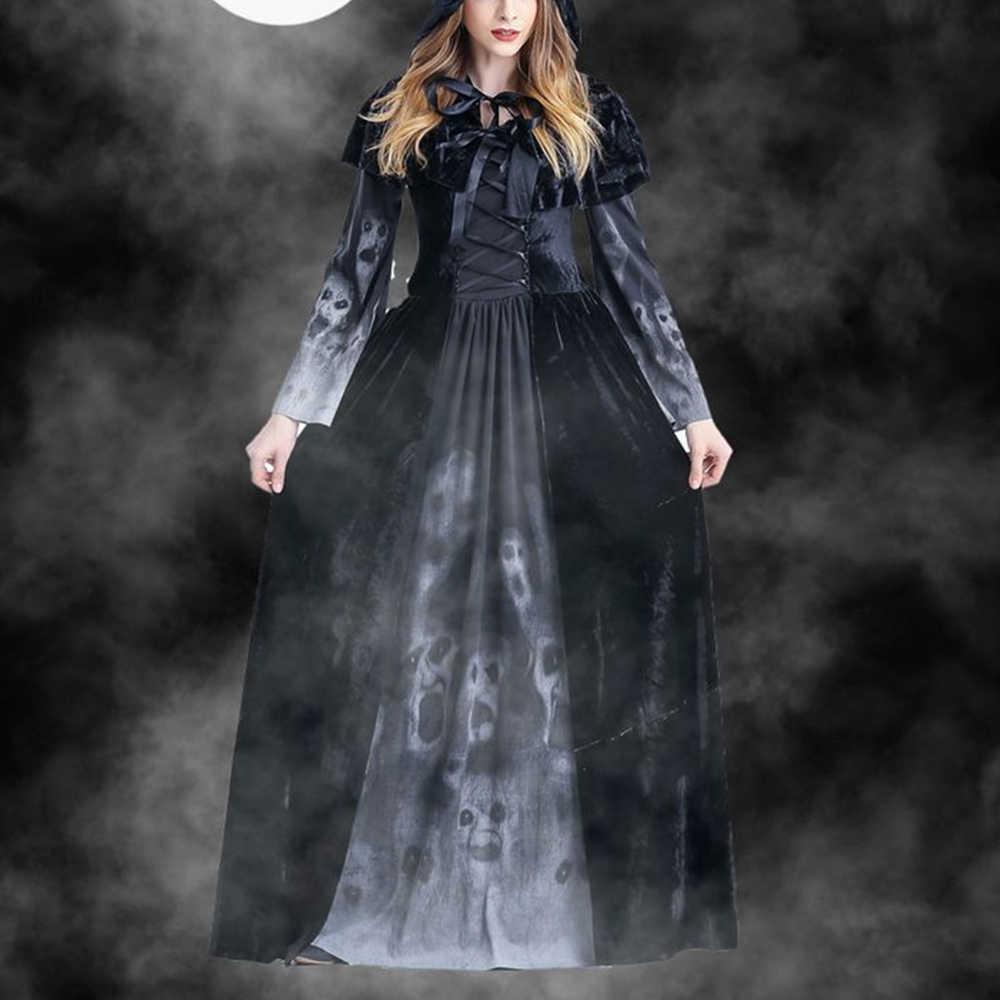 ゴシック魔女ドレスゴーストスカルプリント悪魔黒床の長パーティードレス女性のための秋冬ハロウィンパーティードレス