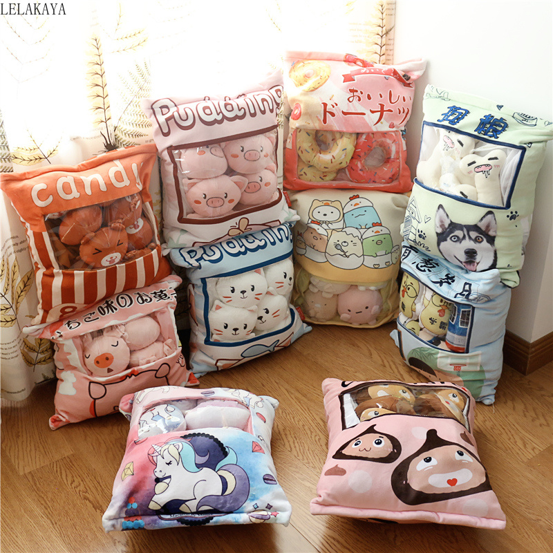 A Bag Of Plush Cartoon Pig Dogs Cat Pudding Pillow Donut Cotton Candy Creative Stuffed Plush Pillows Xmas Gift Decoration Doll