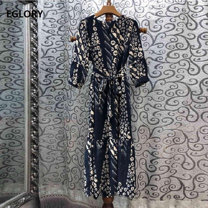 Vintage rétro robe 2019 automne Style femmes v-cou élégant fleur imprimer trois quarts manches mi-mollet longueur partie tunique robe