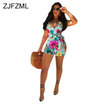 Sexy Cross Backless Floral Playsuit Women Deep V-Neck Sleeveless Bodycon Short Jumpsuit Summer Beach Lace Up Bandage Bodysuit