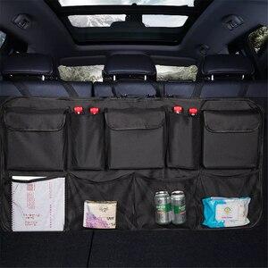 Image 1 - Saco de armazenamento de carro organizador mala do carro universal grande capacidade banco traseiro saco de armazenamento tronco carga malha titular bolso