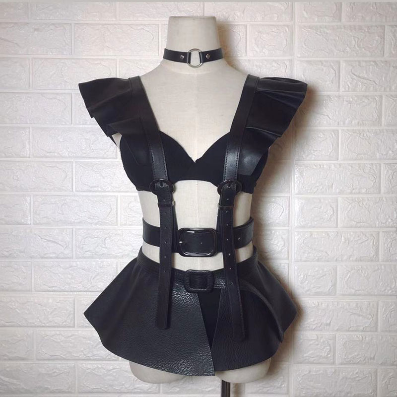 Black Punk Style leather Fashion Sexy Dance Costumes Set Nightclub Bar Ds Dj Female Singer Dance Performance Stage Wear