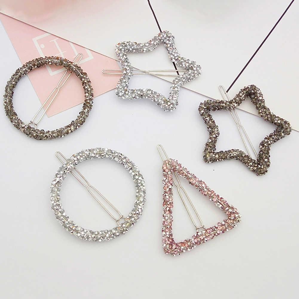 1 pièces mode cristal strass épingle à cheveux étoile Triangle forme ronde femmes pinces à cheveux Barrettes accessoires de coiffure