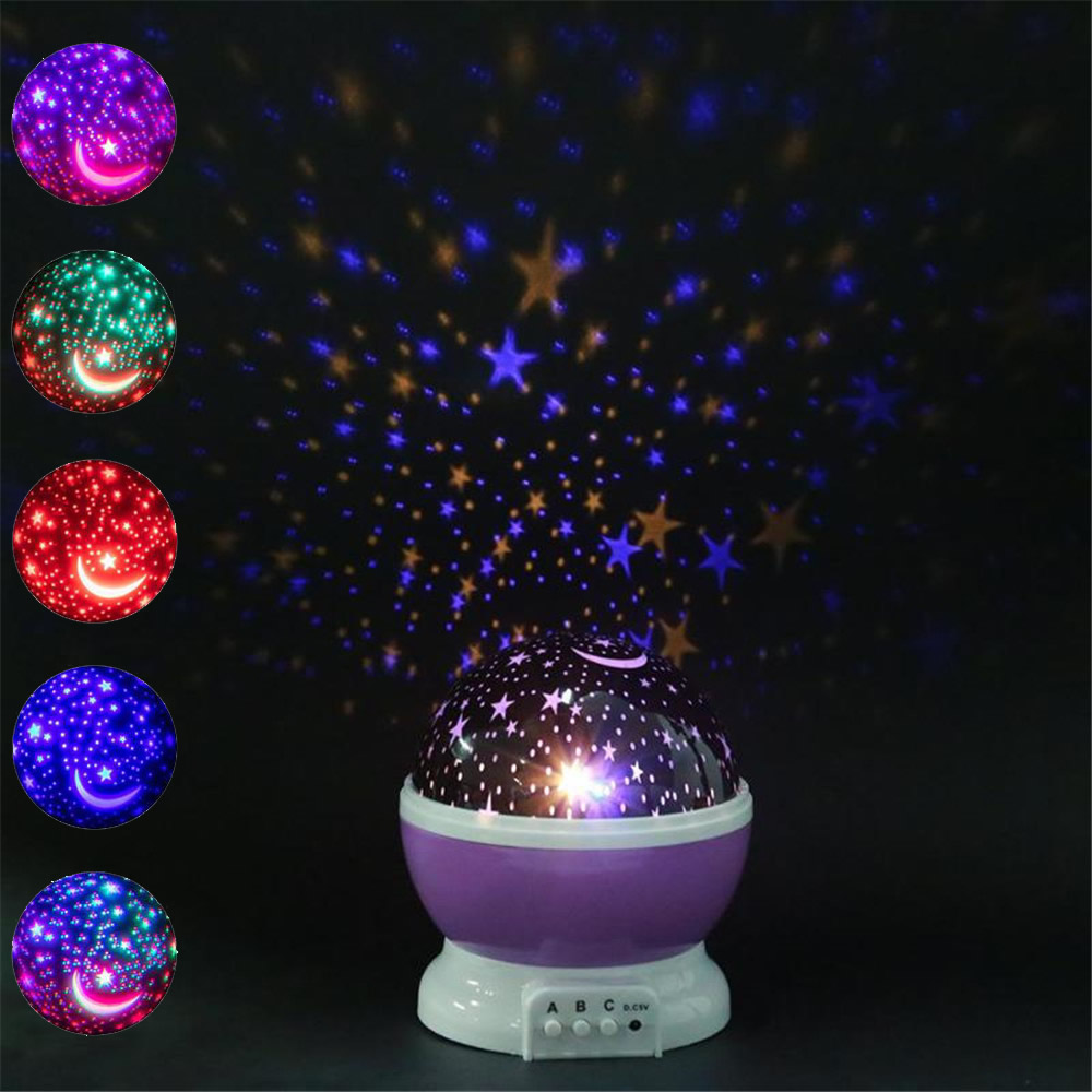 LED Night Light Projector Star Moon Sky Rotating Battery Operated Bedside Lamp For Children Kids Baby Bedroom Nursery Gifts Sky