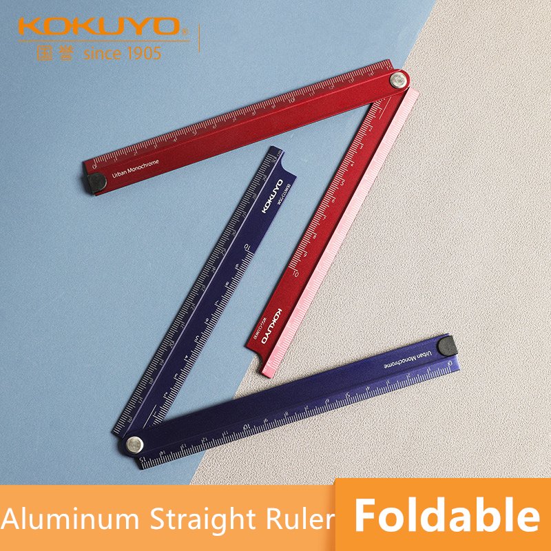 1 Pc KOKUYO WSG-CLUW30 Aluminum Alloy Foldable 15cm-30cm Ruler 90 Degree Folding Simple Design Metal Stationery Urban Monochrome