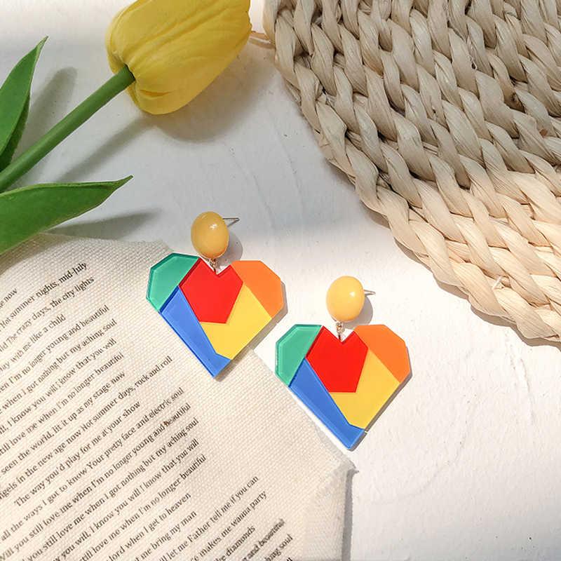 Flashbuy koreański kolor tęczy szwy żywica miłość serce kolczyki dla kobiet sama słodycz geometryczne kolczyki Party biżuteria prezent