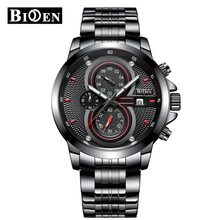 BIDEN men watch top brand luxury reloj hombre mechanical automatic watch chronograph wristwatch Orologi stainless steel links(China)