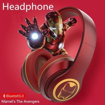 цена на Marvel Avengers Series Genuine Bluetooth 5.0 Headphone Wireless Foldable Headset Running HIFI Stereo Headphone For PC Cellphone
