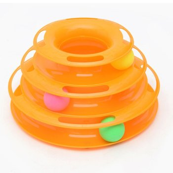 3 Levels Pet Cat Toy Funny Tower Tracks Disc Cat Tracks Toys Training Intelligence Amusement Plate Cat Ball Toys For Cats