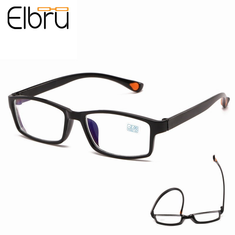 Elbru Ultralight TR90 Full Frame Myopia Glasses Classic Square Nearsighted Glasses Shortsight Glasses With Degree -1.0to-4.0