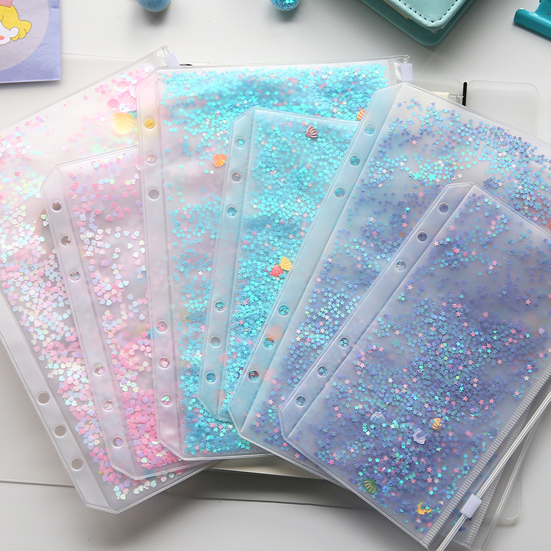 Fromthenon Cute Sequin Shake Cards 6 Holes Decoration Inner Bags Planner Notebooks Accessories,fine Zipper Item Organizer Pocket