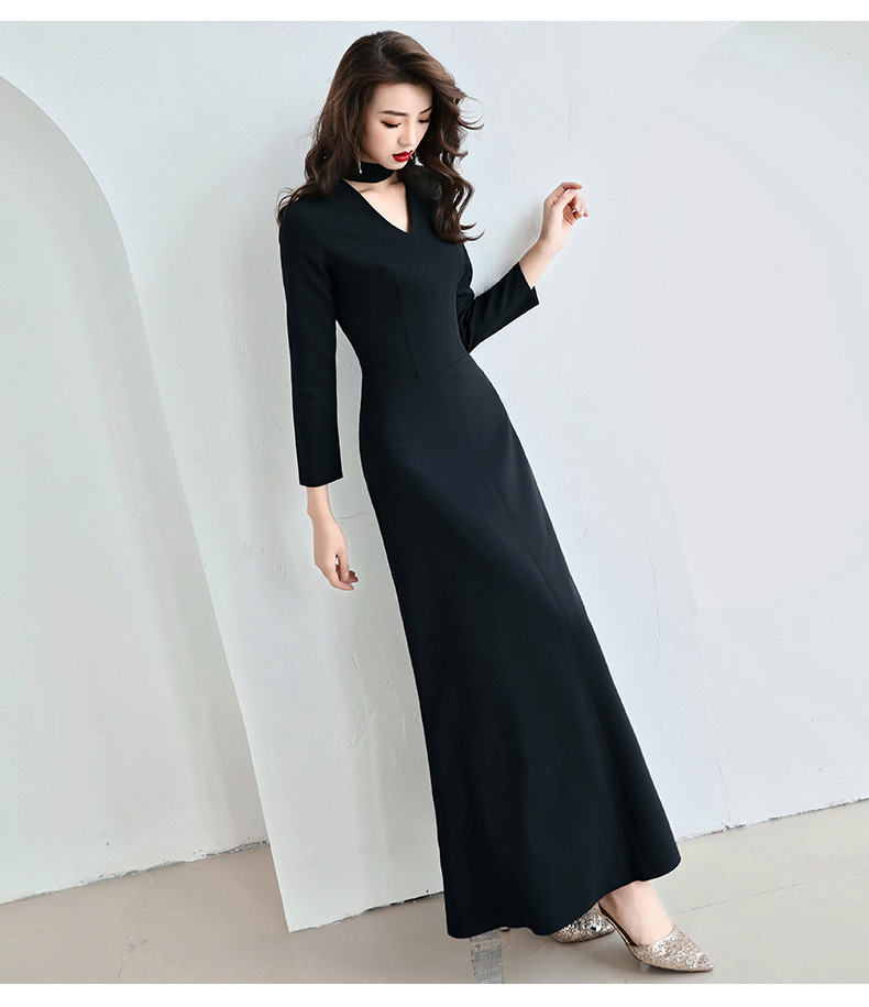 9023 WOMEN'S Dress Autumn And Winter New Style Round Neck Hollow Out V-neck High-waisted A- Line Long Skirts Base Skirt Long Sle