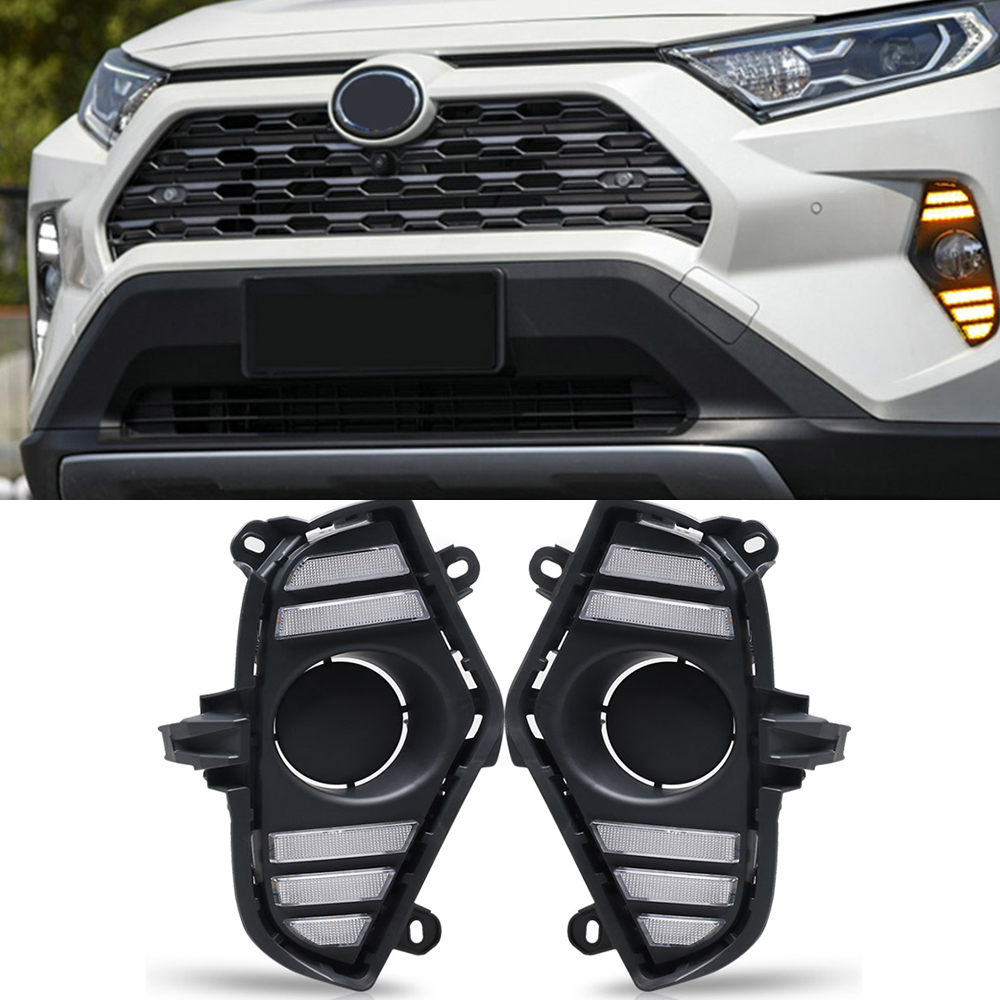 Image 4 - Car Flashing 2Pcs DRL For Toyota RAV4 2019 2020 LED Daytime  Running Light Waterproof with flow Yellow Turn Signal BumperCar Light  Assembly