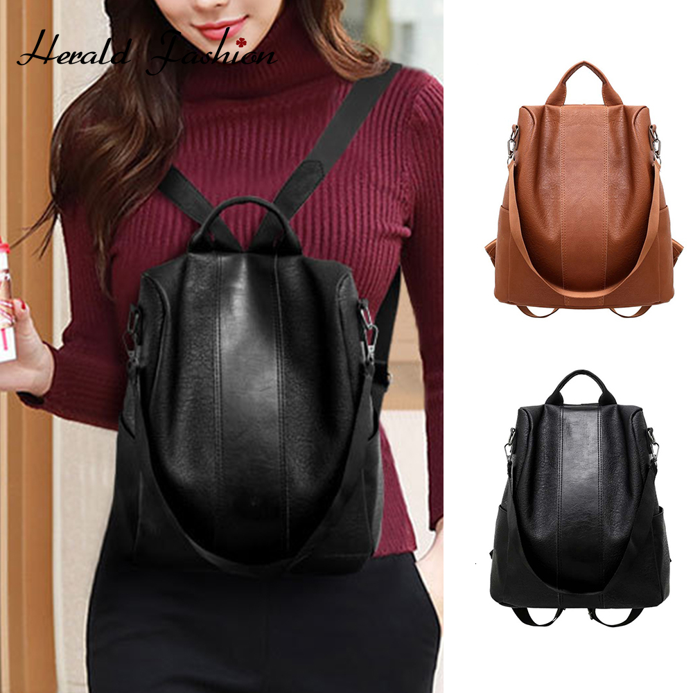 New Fashion Women Anti-Theft Backpack Vintage Leather Backpacks For Teenager Girls Preppy School Bagpack Female Travel Bags