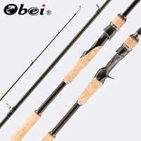 Obei perigee baitcasting canne à pêche voyage ultra léger filature leurre 5g-40g M/ML/MH/XH accion rod 1.8m 2.1m 2.4m 2.7m 3 section