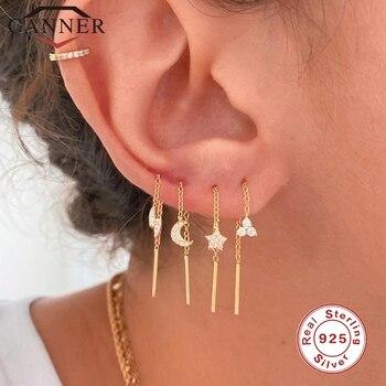CANNER 100% Real 925 Sterling Silver Crystal Zircon CZ Drop Earrings Flower Star Moon Long Chain Ear Wire Brincos Fine Jewelry star cz drop earrings